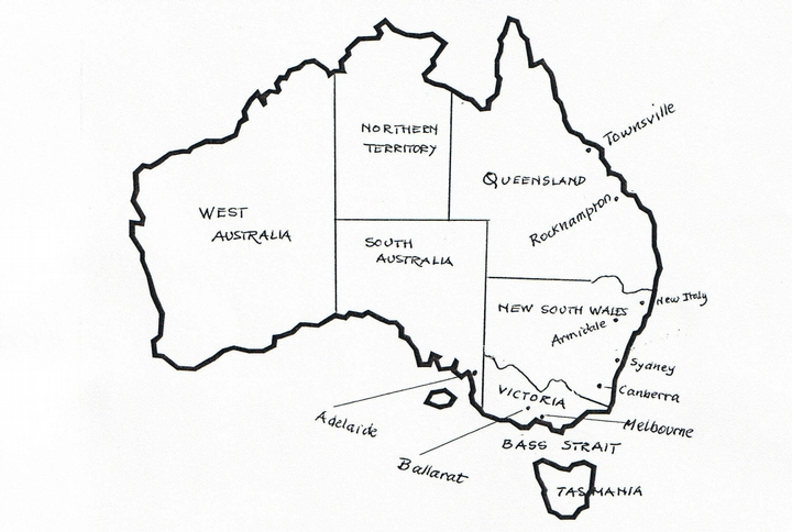map of australia showing the present states and relevant locations